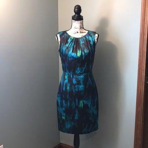 Black green blue watercolor like sleeveless dress
